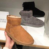 호주 여성 스노우 부츠 100 % 정품 소 가죽 앵클 부츠 따뜻한 겨울 부츠 여자 신발 큰 크기 34-44