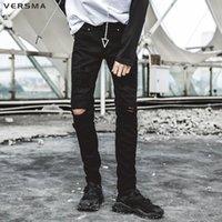 VERSMA Calle Hip Hop vaqueros rasgados pantalones de los pantalones de los hombres de Corea BF destruido GD Hombres Jean pantalones deportivos pantalones del lápiz