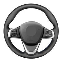 스티어링 휠은 DIY 손으로 바느질 검은 정품 가죽 자동차 커버 f45 f46 x1 F48 x2 F39