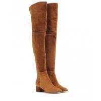 Fit Flock nehmen elastische Overknee-Stiefel Frauen 2020-Winter-Schenkel schnüren sich oben Damen High heel Chunky Ferse Lange Schenkel Hohe botas