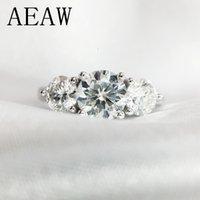 AEAW 2ctw 6.5mm del taglio EngagementWedding Moissanite diamante doppio anello Halo platino placcato argento T200905