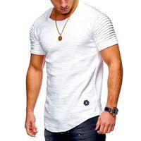 Masculinas O-Neck Slim Fit cor sólida de manga curta T-shirt listrada da dobra do Raglan Estilo da luva T camisa dos homens cobre T M-XXXL