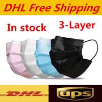 DHL UPS освобождают перевозку груза Маски одноразовые лица черный розовый белый с коробкой с Elastic Ear Loop 3 слойный дышащая пыли воздуха для предотвращения загрязнения лица Ма