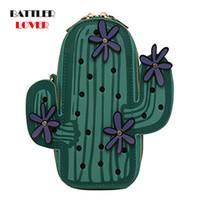 크로스 바디 크리 에이 티브 그린 선인장 식물 어깨 가방 여성 패션 자수 꽃 미니 체인 크로스 바디 휴대 전화 지갑