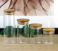 glass dry herb cotaniner cylindrical with bamboo top lids cu...