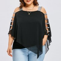 Blusas de las mujeres camisas 30h Tops de mujer sexy y camisa de la moda Corte de la escalera Corte Overminy Top asimétrico Plus Size Blusa sin tirantes Blusa Feminina