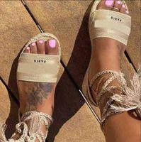 femmes été sangle de taille toile 35-41 plate-forme chaussures plates en cuir sandales de luxe avec la taille de la boîte 35-41 femmes chaussures mode