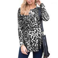 Cacual 여성 의류 여자 디자이너 t- 셔츠 긴 소매 크루 넥 레오파드 프린트 티셔츠 패션 느슨한 탑
