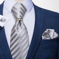 Bow Lazs Dibangi Moda para hombre Corbata de lujo con rayas de lujo con rayas de 8 cm corbatas Hanky Gemelos Anillo conjunto Cravate para bodas de negocios fiesta de fiesta