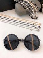 2020 neue hochwertige heißeste HC4245 Rundkette Stil Sonnenbrille UV400 Qualität Metall exqusite Leder Perlenkette 50-140 Voll Fall Auslass