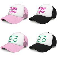 Think Pink с Awareness Ribbon рака Мода Trucker Cap Регулируемая Бейсбол Hat Астрология Знаки зодиака Луна груди Месяц вперед