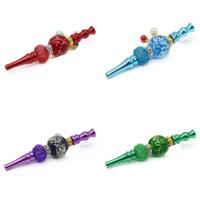 Glow In Dark Smoking Nozzle Hanging Bead Portable Hookahs Tips Luminous Metal Blunt Holders Shisha Inlaid Crystal Smoke Pipes 13jka C2
