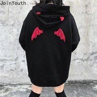 Joinyouth más el tamaño de las mujeres BF estilo sudadera con capucha diablo Ala causal de gran tamaño con capucha Otoño Invierno Fleece espesa los hoodies 56709 CX200820