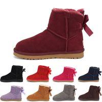 UGG Boots 2020 Зимних девушки Boots Дети Sonw Boots Дети зимней обуви Теплых меховой плюш водонепроницаемой резиновый PU кожа младенец способа принцесса обувь