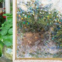 Efeito Rainbow Color Home Decor Window Film estática autoadesivo manchado de Privacidade vidro Foil controle de calor janela matiz da janela adesivos