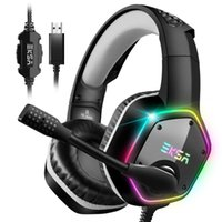 Con conexión de cable de auriculares de luz LED RGB Eksa E1000 7.1 Surround Sound Gaming Headset con el micrófono para / Xbox-One / PC Gamer estéreo USB