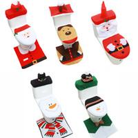 3PCS / Set Fancy Weihnachtstoilettensitzabdeckung und Teppich Badezimmer Set Weihnachtsdekor Weihnachten Dekorationen glückliches neues Jahr DHL-freies Verschiffen