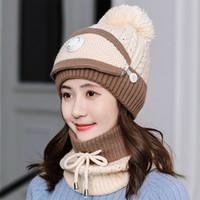 Moda de invierno sombrero bufanda máscara Conjunto de muchachas de las mujeres Caliente Gorros Breathe Caps bufanda tejida y la bufanda Pompoms máscara a prueba de viento gorritas