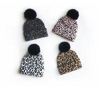 Bambini cappelli leopardo di lavoro a maglia 2020 autunno inverno nuovi scherza il grande cappello pompon modo nero berretto le ragazze dei ragazzi più caldo Beanie A4100
