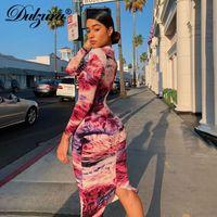 Abiti casual Dulzura Tie Dye Stampa Donna Midi Abito Abito manica lunga Bodycon Sexy Elegante Party 2021 Autunno Inverno Vestiti Streetwear Dinn