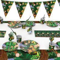 Orman doğum günü partisi dekorları Disposable Sofra Takımı Bardaklar Tabaklar Peçete Çocuk Doğum Safari Parti Malzemeleri