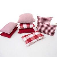 45x45 / 50x30cm Красного белого пледа завиток обычной подушка крышка диван проверил наволочку талии наволочку для спинки домашнего декора