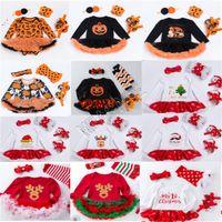 Noel Kız bebekler Rompers Uzun Kollu Elbise + Kafa + Kneepad + Ayakkabı Dört parça Suit Cadılar Bayramı Çocuk Tencere Kar Kabak Tulumlar 0-2Y D82504