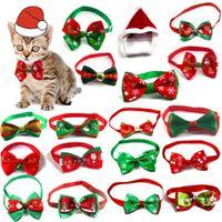 Accessoires de poupée Cravaille d'arc de chiens rouges et verts Série de Noël Chiens de compagnie Chiens d'animaux Cravates Collier à bijoux à la main Collier