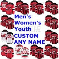 نيو جيرسي الشياطين الفانيلة جاك هيوز جيرسي P.K. Subban Nico Hischier Mackenzie Blackwood Cory Schneider Red Hockey Jerseys مخيط