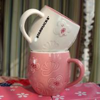 12Oz Starbucks Cup Luxus Cups Paar Keramik Tassen mit Löffel und Untersetzer Morgen Becher Milchkaffee Teefrühstück Valentinstag Tag