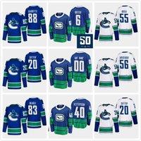 Erkekler Çocuklar 40 Elias Pettersson 2020 Vancouver Canucks 6 Brock Boeser 53 Bo Horvat Gaudette Alex Biega Brisebois Jay Beagle Blank Hokeyi Jersey