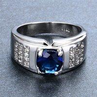 Classique ronde Zircon Blanc / Bleu engagement pierre Anneaux pour Hommes Femmes Mode Vintage Bijoux de mariage Femme Homme Promise Ring