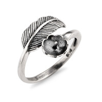 Vintage Design Feather Ring Settings 925 Sterling Silver DIY...