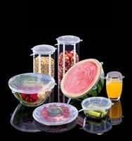 6PCS / مجموعة سيليكون تمتد غطاء حفظ الطازجة شفط وعاء اغطية الصف الغذاء الطازج التفاف ختم غطاء عموم الغلاف مطبخ أدوات زينة
