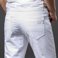 Spring and Summer Men Thin White Jeans Fashion Casual Classi...