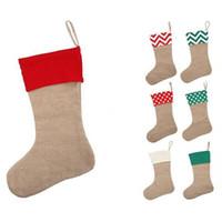 DHL 12 * 18inch hohe Qualität 2.020 Leinwand Weihnachts-Strumpf Geschenk-Taschen Leinwand Weihnachtsweihnachts Large Size Plain Burlap dekorativen Socken Tasche