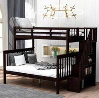 미국 주식 에스프레소 계단 트윈 오버 전체 이층 저장 및 가드 레일 침실 기숙사 키즈와 함께 침대 및 성인은 침대 LP000019AAP 잠자는