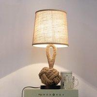 Урожай конопли веревки настольные лампы для гостиной Пастырское дома в стиле ар-деко стол Высвечивается лампа Спальня Подставка Осв.арматура Reading