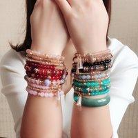 Joyas pulsera de viento de Bohemia brazalete de perlas de oro de múltiples capas de la cuerda elástica pulsera con cuentas de cristal estiramiento