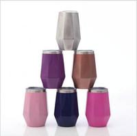 Rotweingläser Diamant-Ei-Form-Auto-Becher 12OZ Edelstahl-Vakuumwein Auto-Büro-Trinken mit Deckel Wasserflasche DDA385