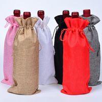 15 * 35cm Jul dekor burlap champagne vin flaska väskor täcker parti festival gåva påse förpackning väska dha913
