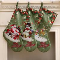 Grand Bas bonhomme de neige du Père Noël Impression Sucrerie Sacs cadeaux de Noël Porte-chaussettes suspendues Ornements Décorations de Noël RRA3524