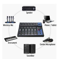Freeshipping Bluetooth Audio Mixer w / USB DJ Sound Mixing Console MP3 Jack 7 Kanal Karaoke 48V Verstärker Karaoke KTV Spiel-Party