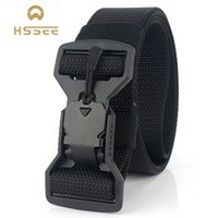 HSSEE Official Genuine Men's Belt New Magnetic Big Buckle Men's Tactical Belt Soft Genuine Nylon Army Dropshipping