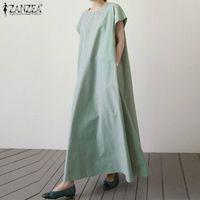 Günlük Elbiseler Zanzea Katı Kısa Kollu Ayak Bileği Baggy Elbise 2021 Kadınlar Pamuk Keten Yaz Plaj Kaftan Sundress Kadın Vestido 5XL
