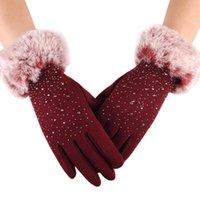 Fünf Finger Handschuhe Bling Strass Winter Touch Screen Faux Pelz Handgelenk Finger Fingerhandschuhe für Frauen Handschoenen