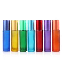 Высокое качество синий / зеленый / розовый / черный / желтый мини 10мл ROLL ON бутылочного стекла для Ароматы ЭФИРНЫХ МАСЕЛ из нержавеющей стали роллер LX2868