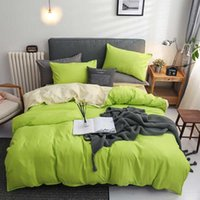 Conjuntos de ropa de cama .Wensd Fruit Green Set 3-4 PCS / Include (hoja, funda de almohada cubierta de edredón) Coloque de color liso Cama suave