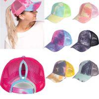 7 cappello stile baseball Coda di cavallo Berretto da baseball cotone lavato Trucker Caps Snapback Tie-dye Cap Mesh colorato
