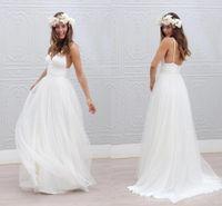 Bohemian Beach Vestidos de novia Correas de espaguetis blancas puras tul ruchadas fruncidos 2020 vestidos de novia estilo simple vestido de novia de hadas cus